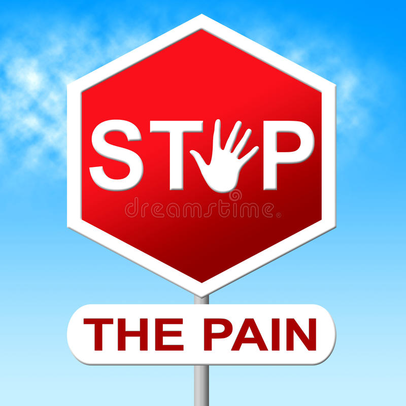 Pain Stop Indicates Warning Sign And Control stock illustration