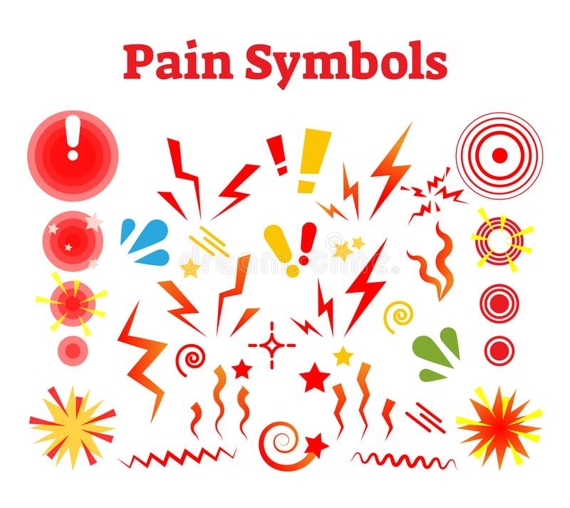 Pain symbols, vector illustration with damage, crash and ache signs. royalty free illustration