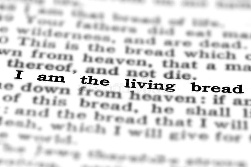 Pain vivant de citation d'écriture sainte de nouveau testament photos libres de droits