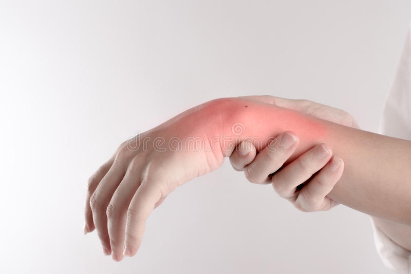 A pain in the woman`s wrist isolated on white background.  stock photos