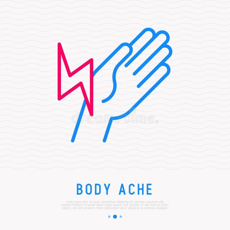 Pain in wrist thin line icon. Vector illustration. Pain in wrist thin line icon. Modern vector illustration of arthritis symptom royalty free illustration