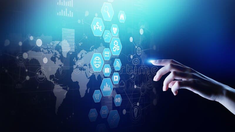 Painel da inteligência empresarial, da análise de dados com cartas dos ícones e diagrama na tela virtual ilustração do vetor