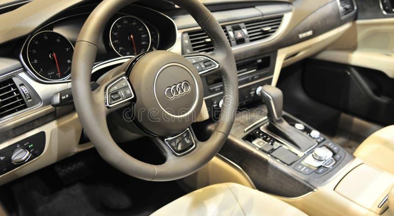 Painel de Audi Quattro Sports Car Interior fotografia de stock royalty free