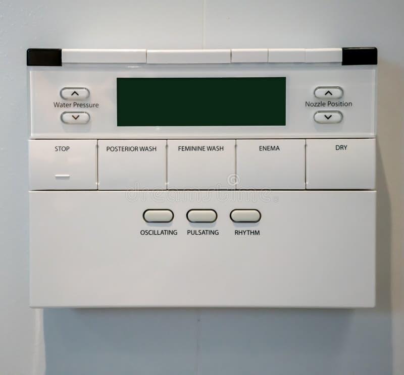 Painel de controle da bacia de toalete Higiênico e de alta tecnologia da bacia de toalete, toalete nivelado moderno automático imagens de stock royalty free