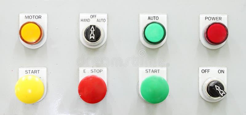 Painel de controle do botão de interruptor imagens de stock