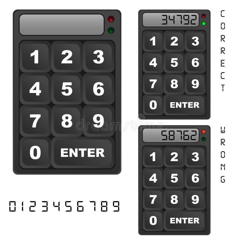 Painel de controle do teclado da segurança ilustração royalty free