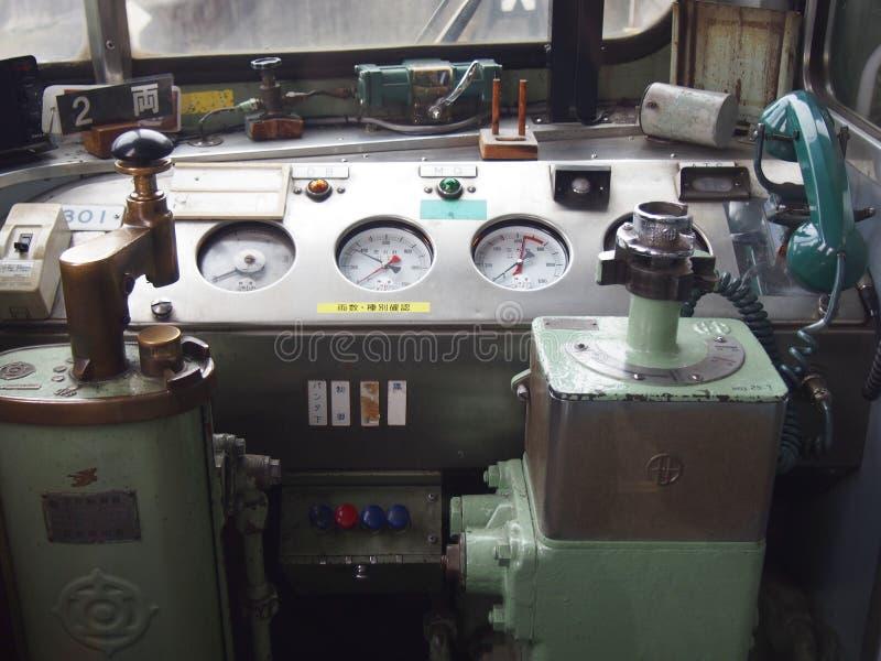 Painel de controle do vintage do trem do japonês foto de stock