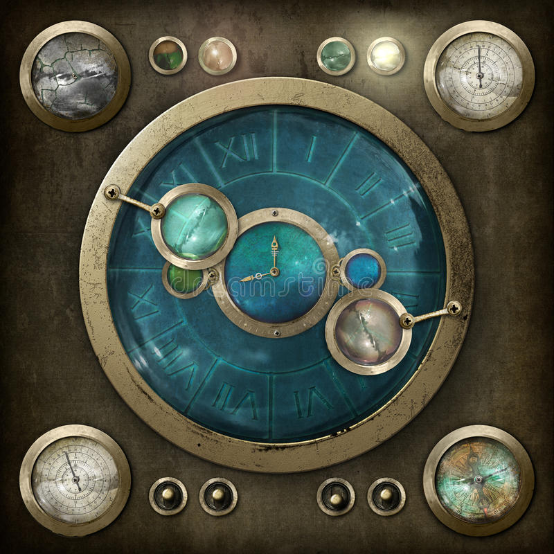 Painel de controlo de Steampunk ilustração do vetor