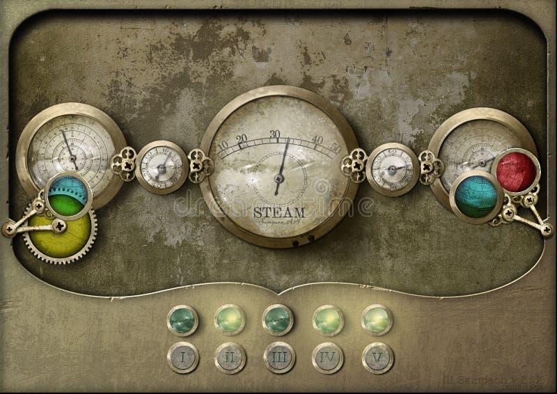 Painel de controlo do painel de Steampunk fotos de stock