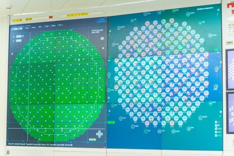 Painel de controlo do reator do bloco do central nuclear fotografia de stock royalty free