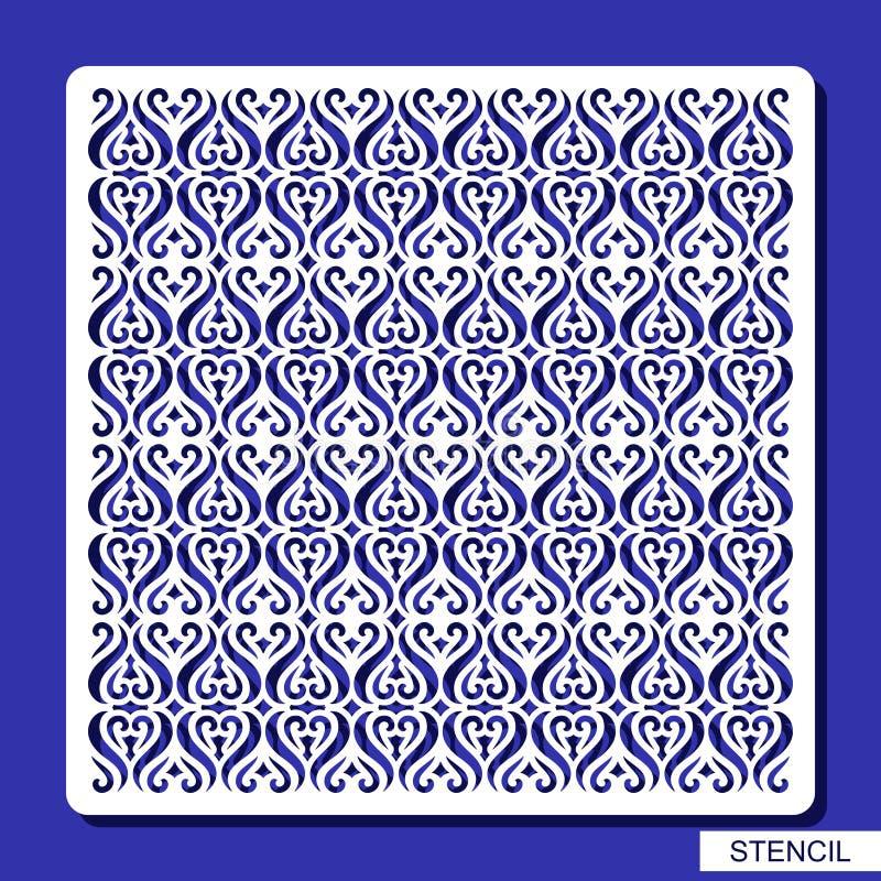 Painel decorativo quadrado Estêncil com ornamento geométrico ilustração stock