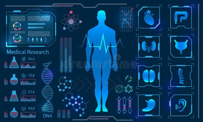 Painel diagnóstico humano da tecnologia de corpo virtual dos cuidados médicos médicos olá!, pesquisa da medicina ilustração stock