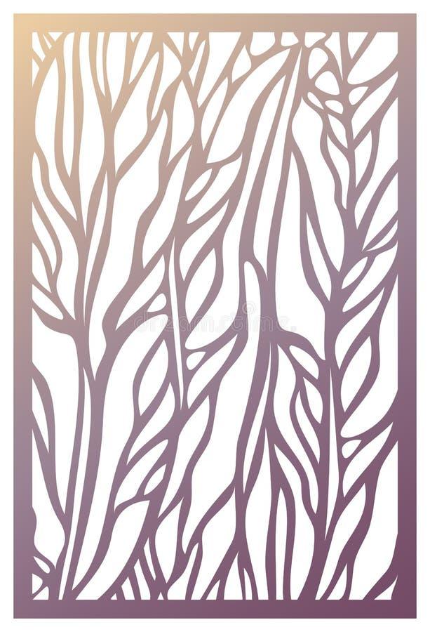 Painel do corte do laser do vetor Molde abstrato do teste padrão para decorativo ilustração stock