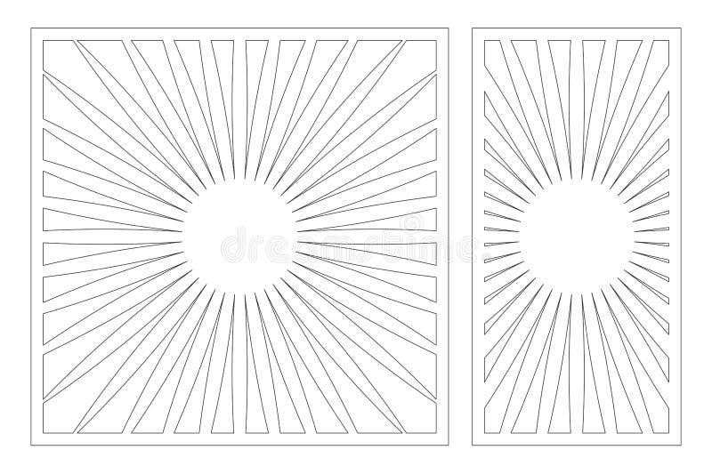 Painel do corte do laser Cart?o decorativo ajustado para cortar Linha teste padr?o da geometria da arte 1:2 da rela??o, 1:1 Ilust ilustração stock