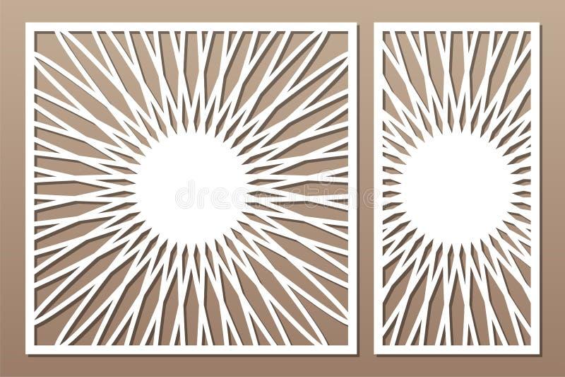Painel do corte do laser Cart?o decorativo ajustado para cortar Teste padrão da mandala da mandala da flor 1:1 da rela??o, 1:2 Il ilustração do vetor