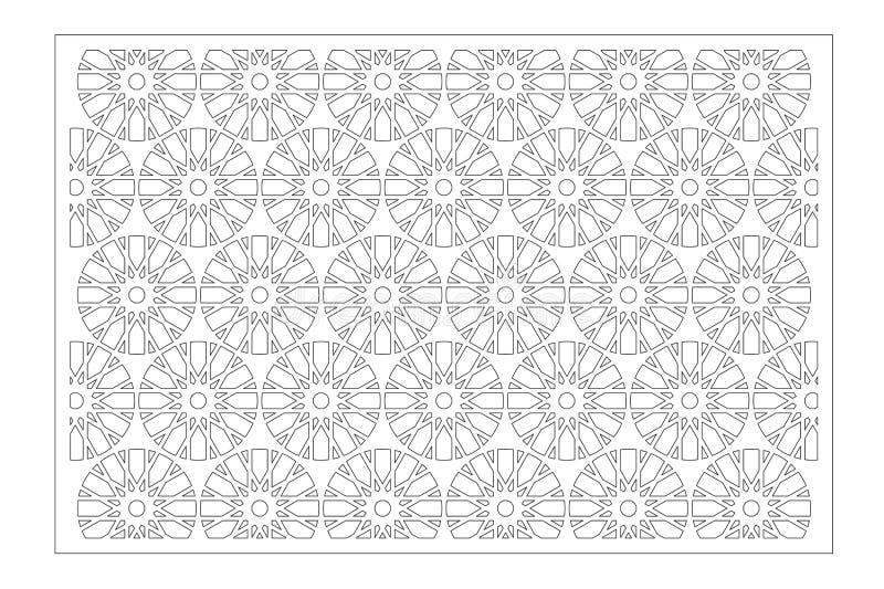 Painel do corte do laser Cart?o decorativo para cortar Flor, árabe, linha teste padrão da arte 2:3 da rela??o Ilustra??o do vetor ilustração stock