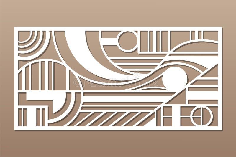 Painel do corte do laser Cart?o decorativo para cortar Linha figura teste padrão da geometria da arte 1:2 da rela??o Ilustra??o d ilustração royalty free