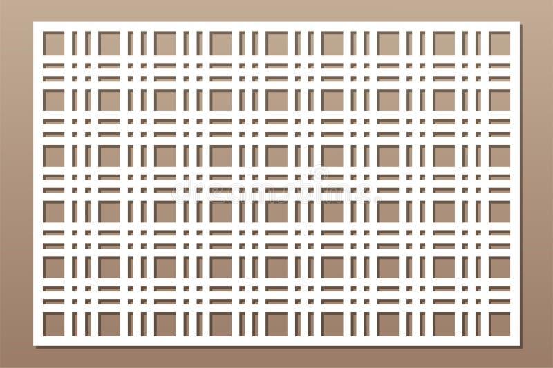 Painel do corte do laser Cart?o decorativo para cortar Linha teste padrão da geometria de grade 2:3 da rela??o Ilustra??o do veto ilustração stock