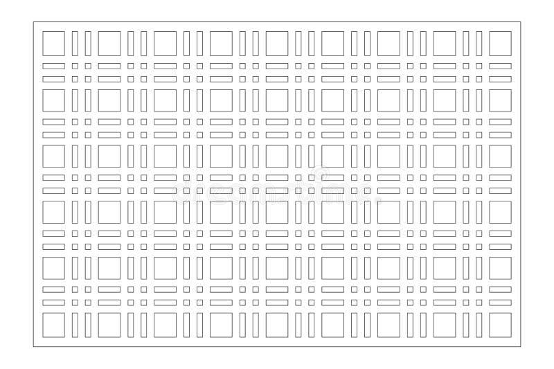 Painel do corte do laser Cart?o decorativo para cortar Linha teste padr?o da geometria de grade 2:3 da rela??o Ilustra??o do veto ilustração do vetor