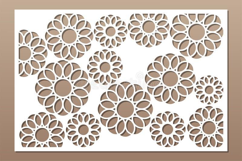 Painel do corte do laser Cart?o decorativo para cortar Teste padrão da geometria da arte da flor 2:3 da rela??o Ilustra??o do vet ilustração do vetor
