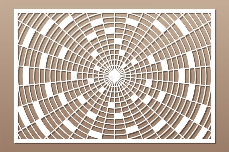 Painel do corte do laser Cart?o decorativo para cortar Teste padrão da mandala do caleidoscópio da geometria 2:3 da rela??o Ilust ilustração do vetor