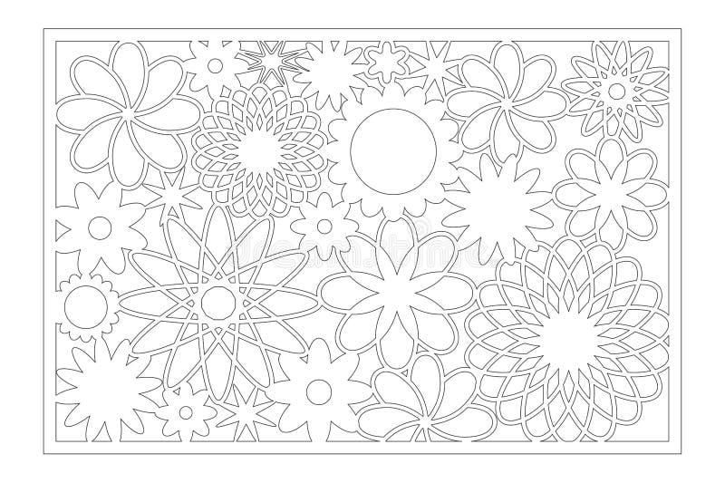 Painel do corte do laser Cart?o decorativo para cortar Teste padr?o da geometria da arte da flor 2:3 da rela??o Ilustra??o do vet ilustração royalty free