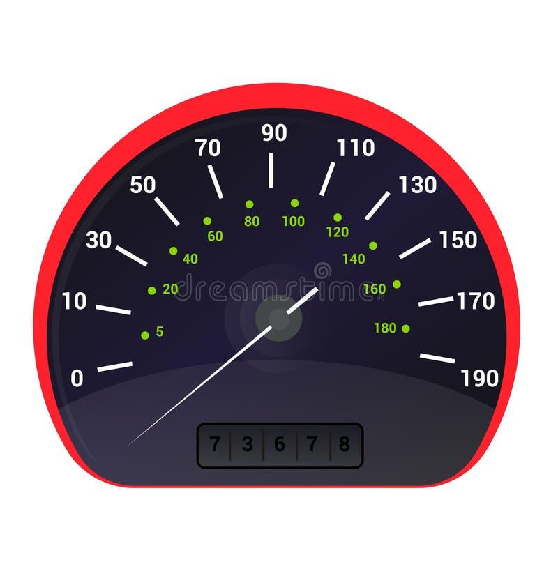 Painel do painel da velocidade do carro do vetor do velocímetro e para acelerar o grupo da ilustração do projeto da medida de pod ilustração stock