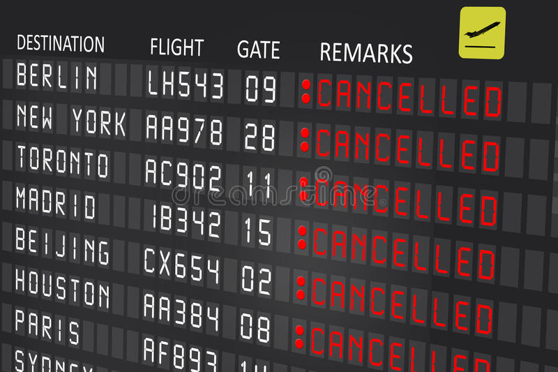 Painel do quadro de avisos do aeroporto com voos cancelados foto de stock