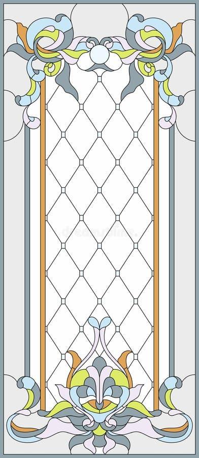 Painel do vidro colorido em um quadro retangular Projeto decorativo da janela ou da porta ilustração do vetor