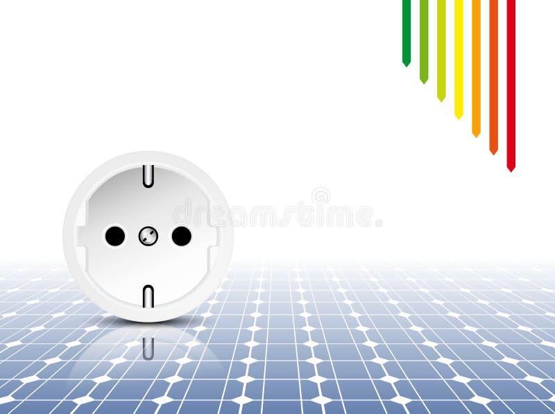 Painel solar - conceito do uso eficaz da energia ilustração royalty free