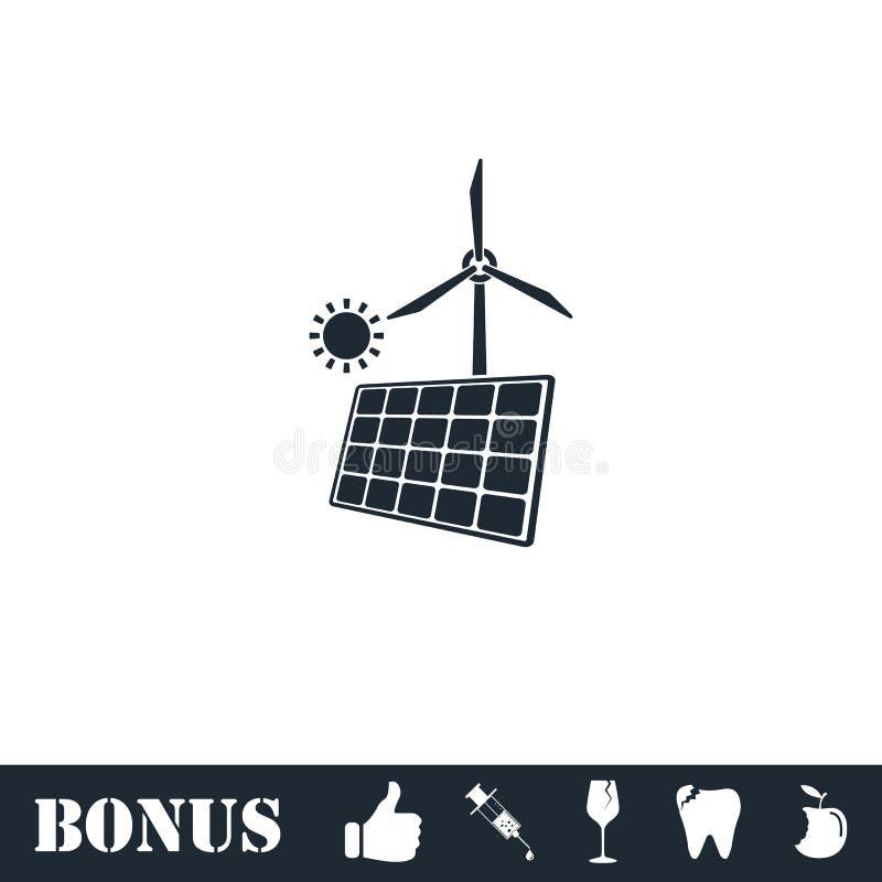 Painel solar e moinhos de vento para o ?cone da energia horizontalmente ilustração do vetor