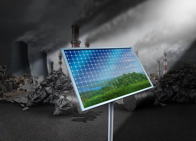 Painel solar e poluição ilustração royalty free