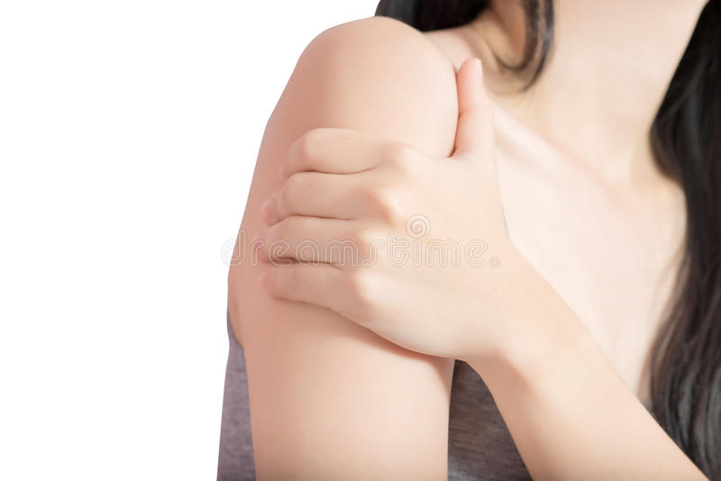 Painful arm in a woman isolated on white background. Clipping path on white background. royalty free stock photos