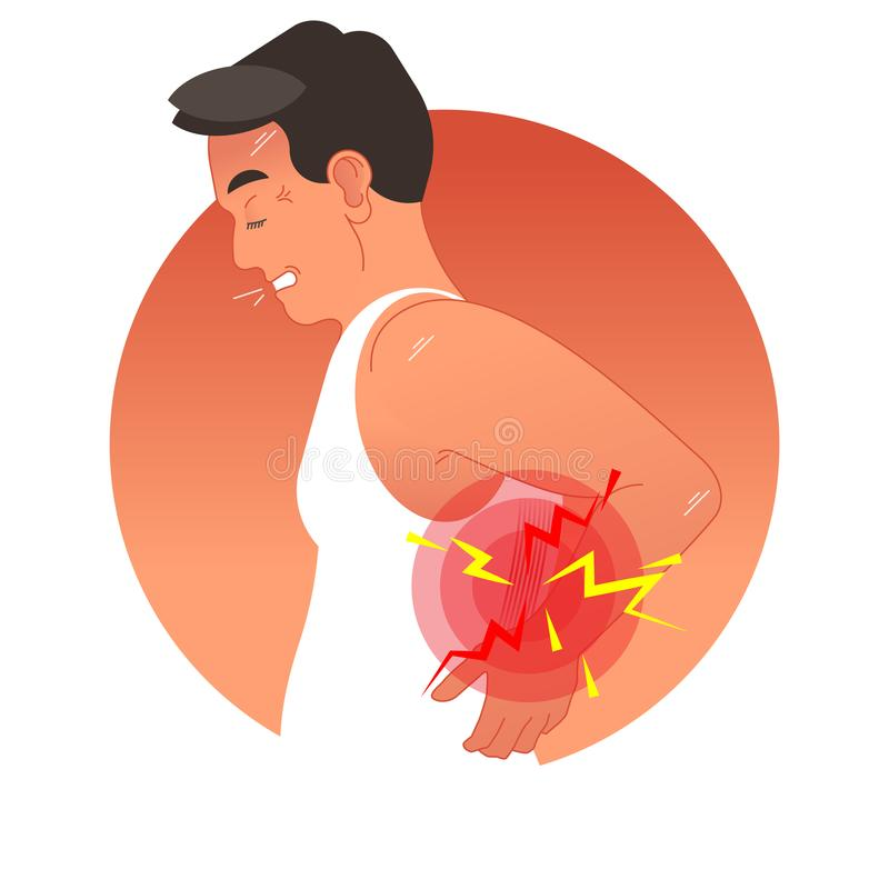 Painful back concept vector illustration with human torso. Work overload or sports injury. stock illustration