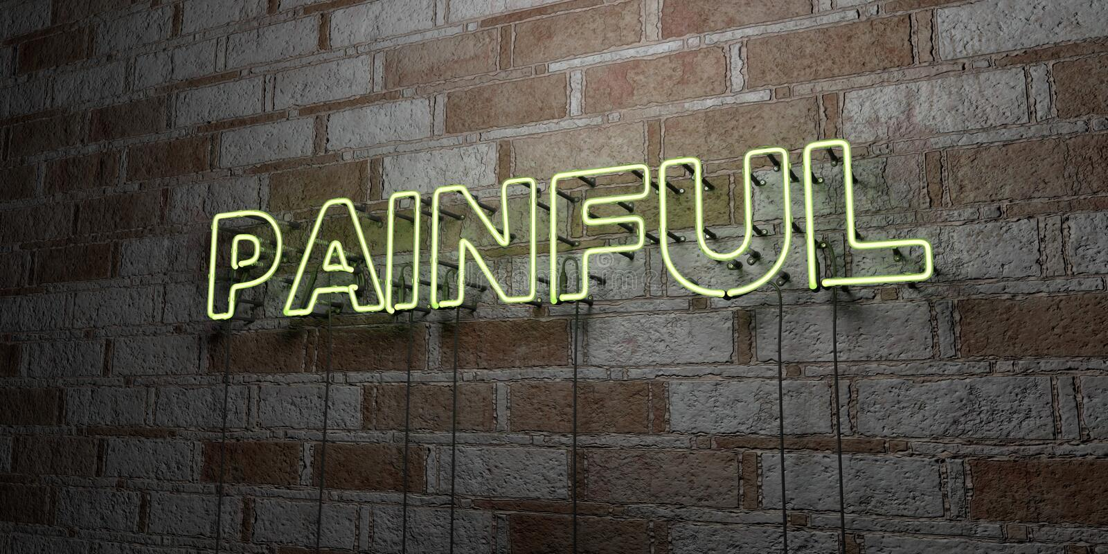 PAINFUL - Glowing Neon Sign on stonework wall - 3D rendered royalty free stock illustration. Can be used for online banner ads and direct mailers stock illustration