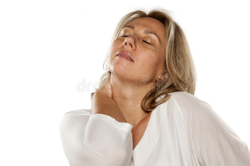 Painful neck royalty free stock images