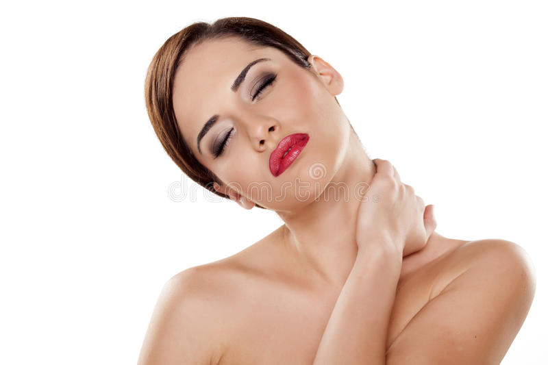 Painful neck royalty free stock photos