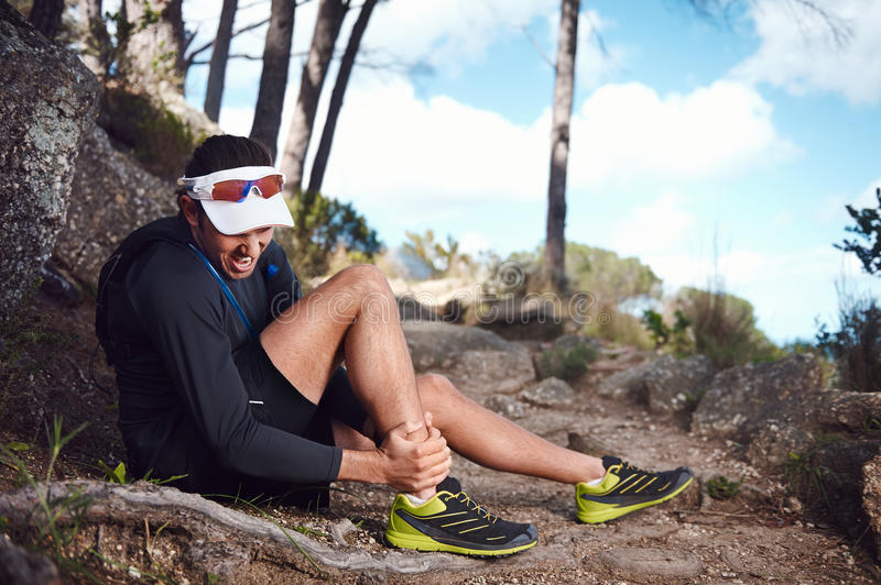 Painful running injury royalty free stock photography