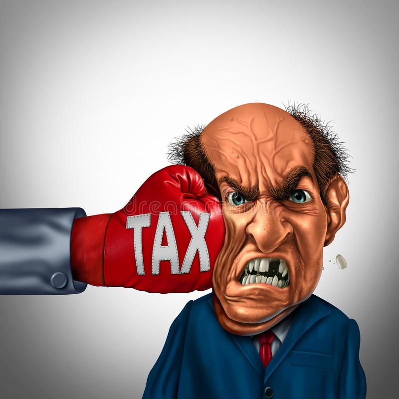 Painful Tax Concept. Painful tax and financial blow concept as a fist punching a taxpayer or businessman as an economic symbol for taxation stress with 3D stock illustration
