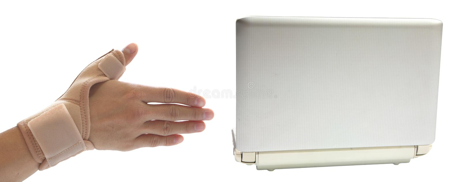 Painful wrist and thumb from working on computer royalty free stock images