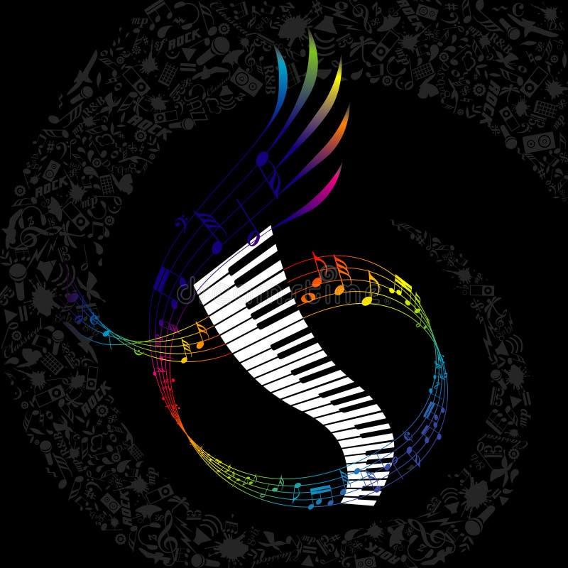 Paino colorido com elementos compor da música ilustração royalty free
