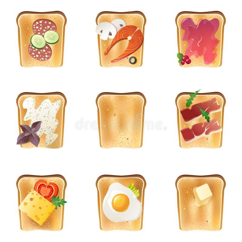 9 pains grillés illustration de vecteur