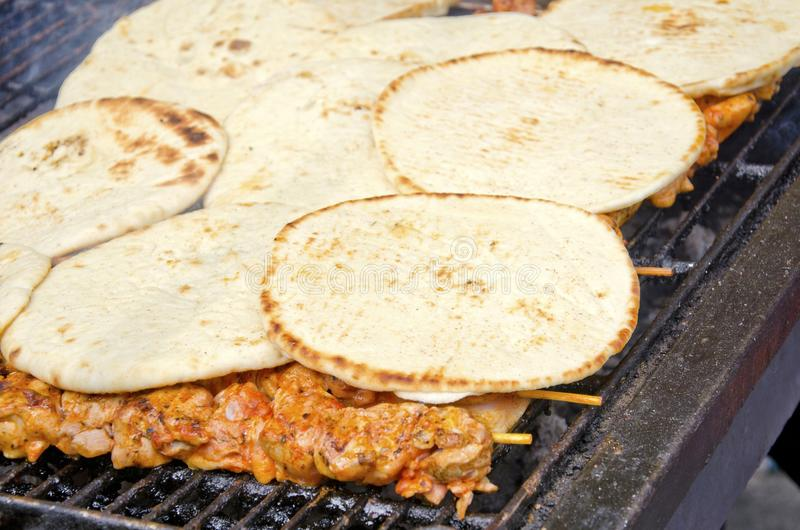 Pains pitas de chiche-kebab photo stock