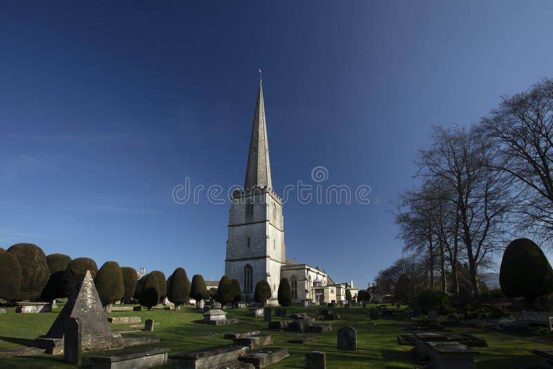 Painswick Gloucestershire, UK, 24th Februari 2019, kyrka för St Marys i Painswick royaltyfria foton
