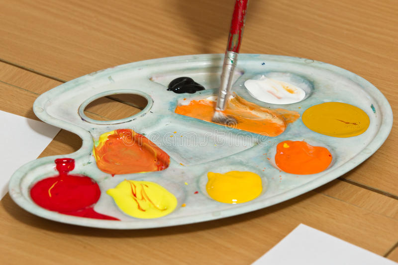Download Paint stock photo. Image of crafts, orange, white, palette - 24932180