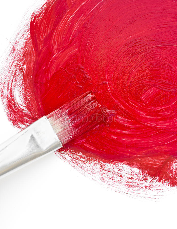 Paint. Brush drawing surface blank red on white background royalty free stock photography