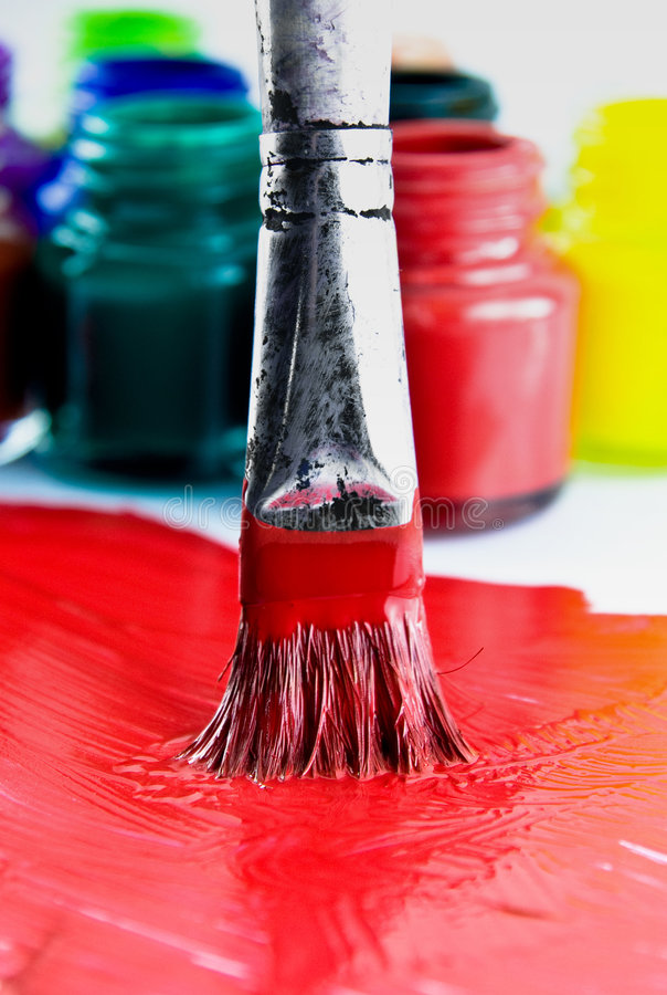 Paint. Red paint brush art background royalty free stock images
