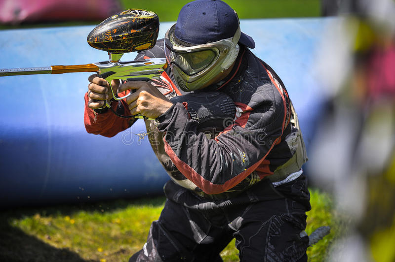 Paint ball player in action. Paint ball player in Thailand International Paintball competition 2015 stock photos