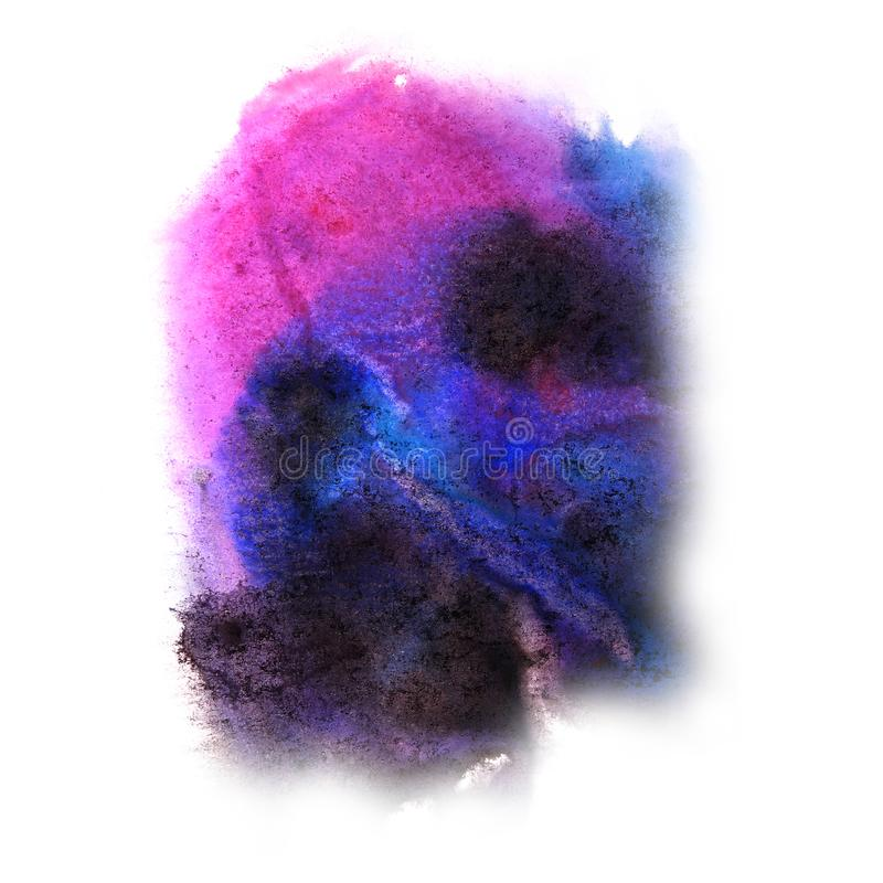 Paint blue, pink, black splash ink blot and white abstract art stock photography