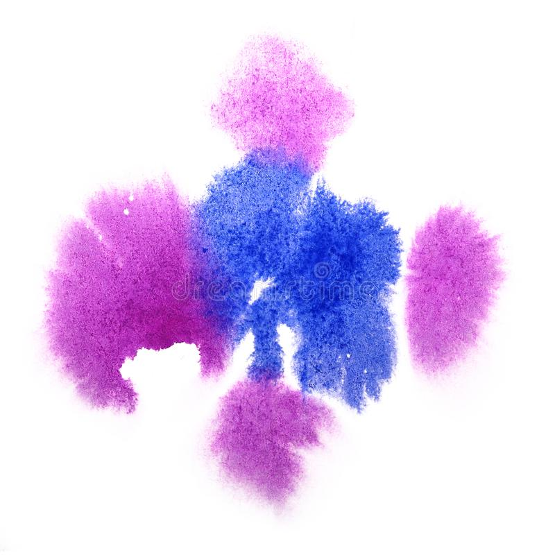 Paint blue, pink splash ink blot and white abstract art brushes. Isolated royalty free stock photo